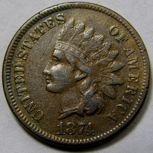 1874 P Indian Head Cent #3