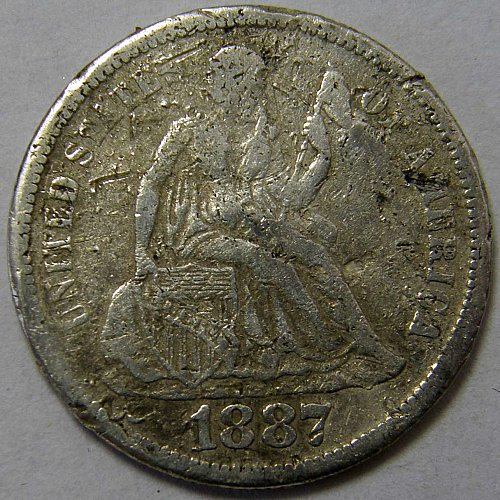 1887 S Seated Liberty Dime