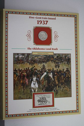 "1937 ""THE OKLAHOMA LAND RUSH"" BUFFALO NICKEL COIN & STAMP PANEL"
