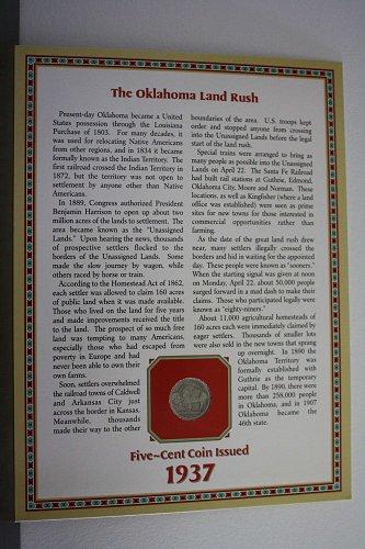 "1937 ""THE OKLAHOMA LAND RUSH"" BUFFALO NICKEL COIN & STAMP PANEL"