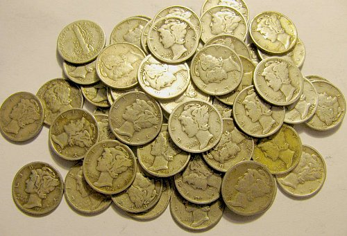 50 Mercury Dimes ROLL  some early 20'/30's  vaiety for collectors!@!  #34