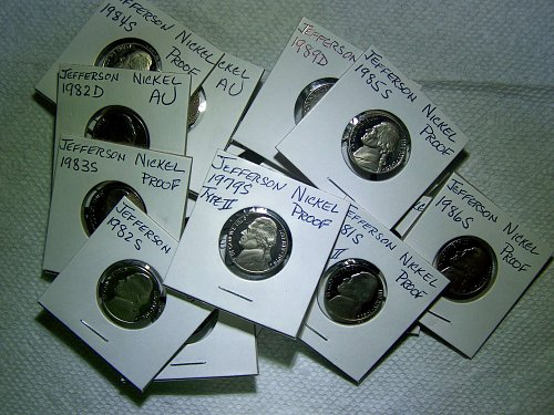 Collectors Lot of 20 Jefferson Nickels, AU - Proof