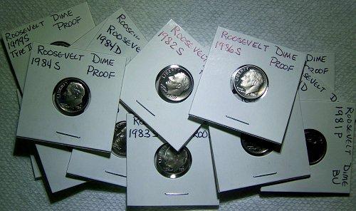 Collectors Lot of 16 Roosevelt Dimes, BU - Proof