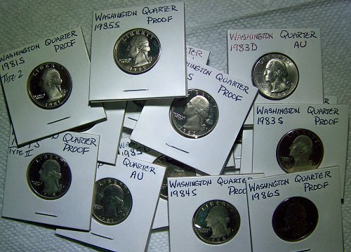 Collectors Lot of 15 Washington Quarters, AU - Proof