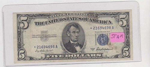 1953-A $ 5 Silver Certificate ( STAR )