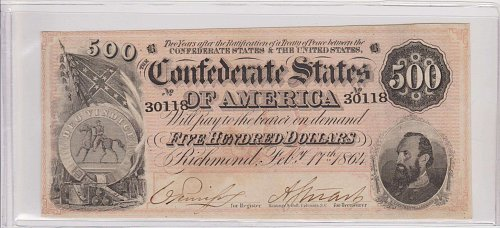 1864 Confederate $ 500.00 Note ( Stone Jackson ) Civil War