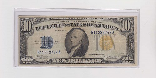 1934-A $ 10 Silver Certificate Yellow Seal ( World War II Note )
