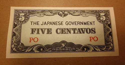 WWII JAPANESE OCCUPIED Philippines 5 Centavos WC-0002