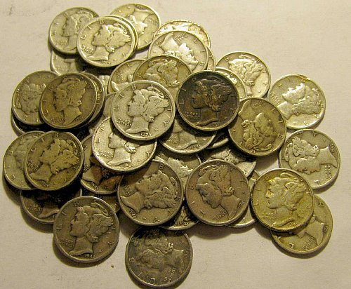 Roll 50 Silver mercury Dimes 20's to 40's Not JUNK  Lot 28   +4 more Dimes FREE