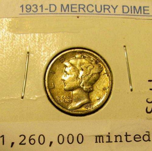 Key 1931 D Silver mercury Dimes  A choice piece!!  + 5 more MERCURIES  FREE!!