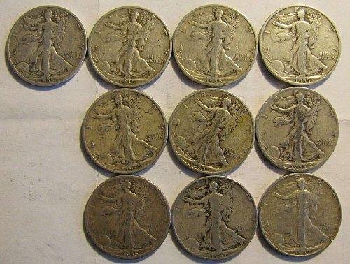 Walking Lib. half Dollars SILVER  7 x 35 S,1 x 35 D, 2 X 37 D Total 10 +4 FREE!!