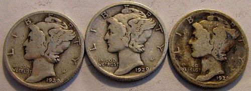 1929 P ,D, & S Mercury Dimes SILVER