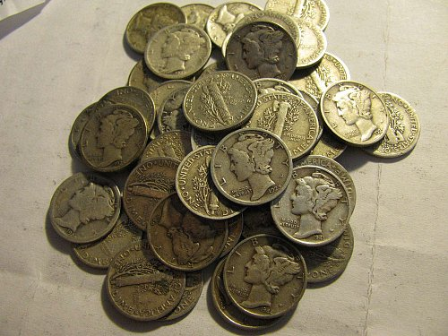 Roll 50 Mercury Dimes SILVER 1920' to 40's+     #3-5