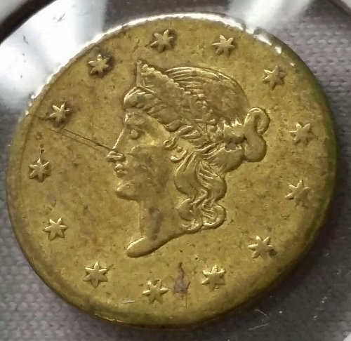 California Gold Token ~ Brass ~ B & G 1328 ~ Rare ~ AU