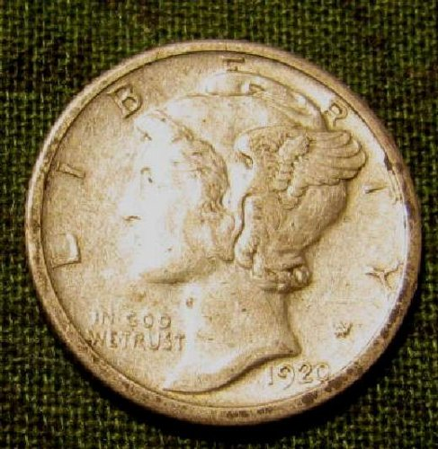 1920 S  Mercury Dime SEMI KEY   Sharp near  AU  + 3 more FREE Mercuries!!