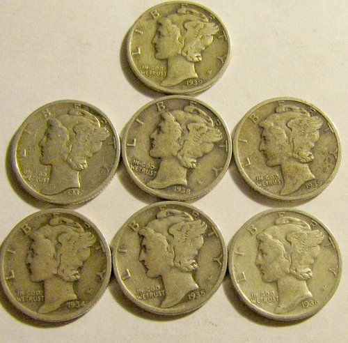 Mercury Dimes all dated in 1930's   tot. 7