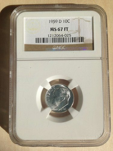 NGC MS67 FT 1959D Roosevelt Dime