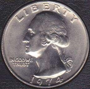 1974 P Washington Quarter