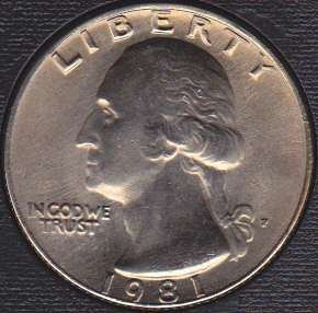 1981 P Washington Quarter