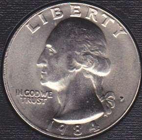 1984 P Washington Quarter
