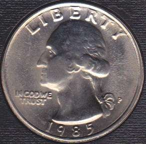1985 P Washington Quarter