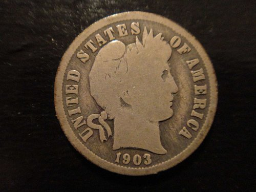 1903-O Barber Dime Good-4 Nice Original Nearly Contact Mark Free Coin!