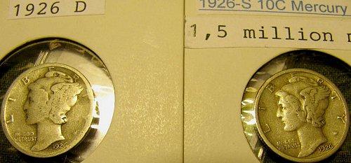 1926D & 1926S  Key date Mercury Dimes + 3 THREE FREE more Mercuries!!!!