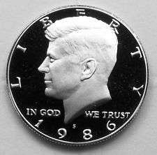 1986 S  PROOF  KENNEDY HALF DOLLAR