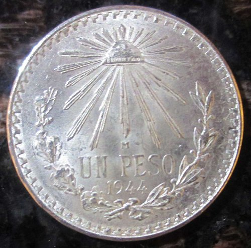 1944 Mexican Silver 1 Peso Silver Cap and Ray **BRILLIANT UNCIRCULATED**