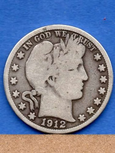 1912 S Silver Barber Head Half Dollar Genuine Natural US Coin