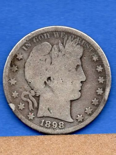 1898 S Silver Barber Head Half Dollar Genuine Natural US Coin