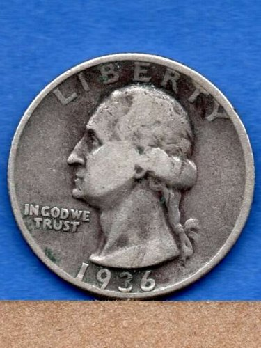 Silver 1936 D Washington Head Quarter Dollar Genuine Natural US Coin