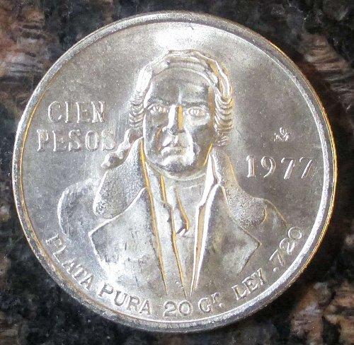 1977 100 PESOS MORELOS SILVER MEXICAN COIN .720 SILVER**BRILLIANT UNCIRCULATED**