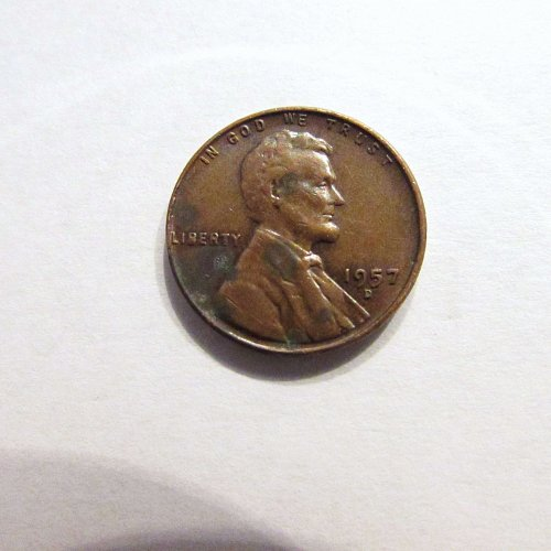 1957-D Lincoln Wheat Cent Error, filled in B at bottom of Liberty