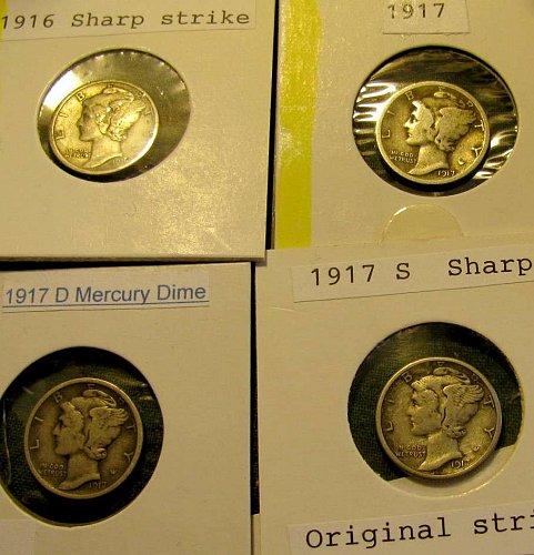 1916,17P,17D, &17S Mercury Dimes PLUS 5 more FREE Mercuries!!!!
