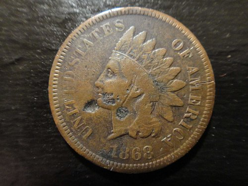 1868 Indian Cent Fine Details-Pitted & Scratched Obverse