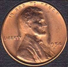 1954 S Lincoln Wheat Cent