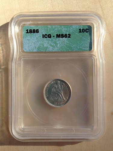 ICG MS62 1886 Seated Liberty Dime