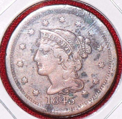 1843 P Braided Hair Liberty Head Large Cents: Petite - Large Letters