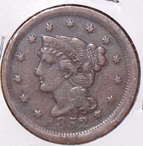 1853 P Braided Hair Liberty Head Large Cents:EF-40 Great Looking Lots of Detail
