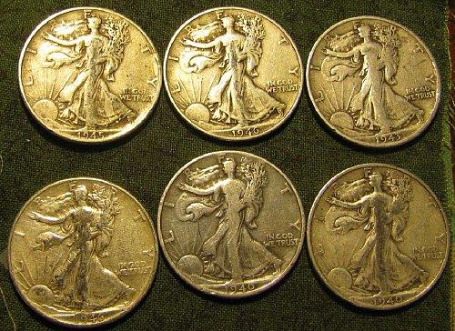 Walking Liber Half Dlrs 1943S; 2 X 1940; 2 X 1946 &1945 +4 FreeBARBERDIMES!!!!