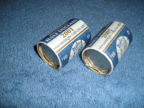 1- Full Roll, 2001 D, US Mint Wrapped Kennedy Half Dollars