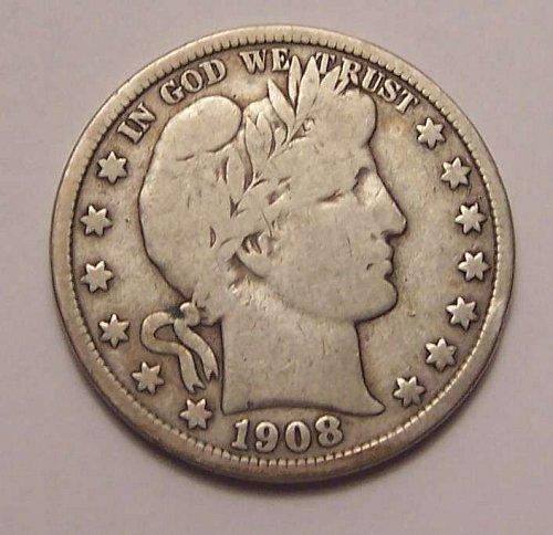 1908-D  BARBER  HALF  DOLLAR  >> VG8 <<