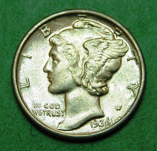 1936 P Mercury Dime Brilliant Uncirculated Coin   b38