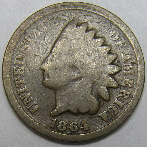 1864 P INDIAN HEAD Cent #6 BRONZE