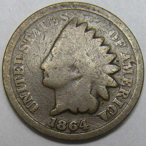 1864 P INDIAN HEAD Cent #6 BRONZE