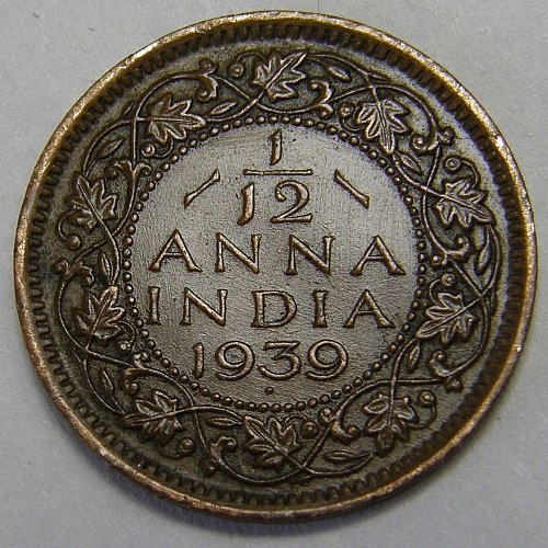 1939 British - India 1/12 Anna
