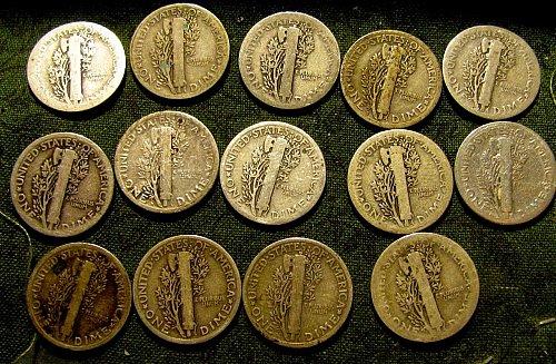 Silver Mercury dimes1917D,19,3 X 20's; 2X23; 23-S; 24; 2 X 25's; 3 X 26's