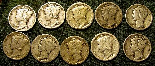 Mercury Dimes 1918D & S; 20'; 25'; plus nice 35S; 36D,37D +5 FREE More dimes!