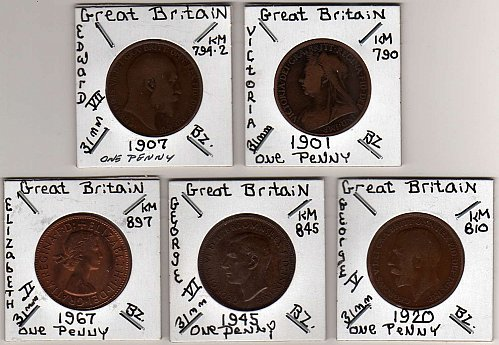 """GREAT BRITAIN"" 5 BRONZE LARGE PENNY'S 1901 THROUGH 1967"